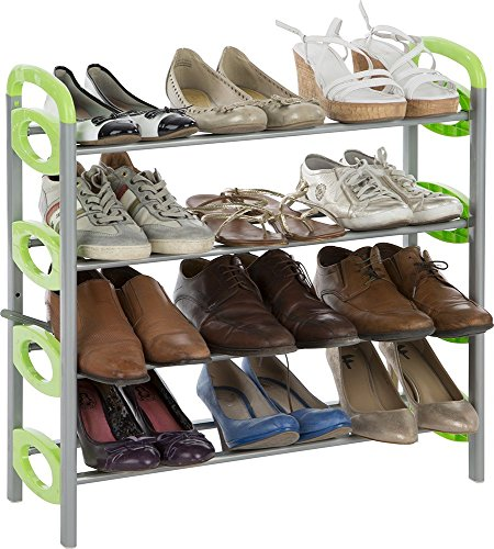 Schuhregal mit 4 Ebenen für 12 Paar Schuhe, Casibel D304V, Grün/Weiss