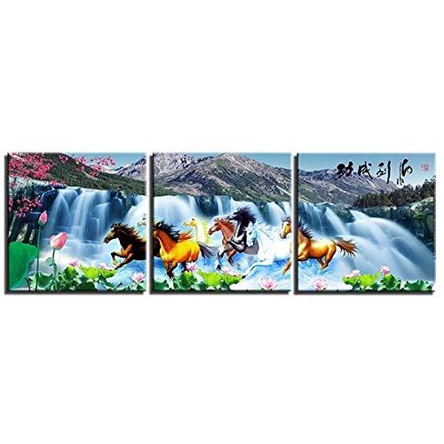 DDSDA Caballo Cascada Corriendo Caballos 3 Panels Canvas Wall Art Painting Prints Abstract Pictures Prints Modern Artwork -50x70cmx3/Con Marco