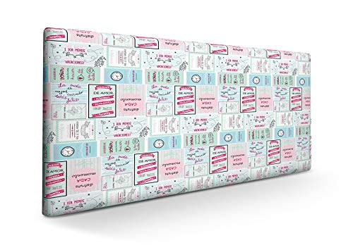 SUENOSZZZ-ESPECIALISTAS DEL DESCANSO Cabecero tapizado para Camas de 90 (100 x 57 cm) en Tela Motivo Estampado Mr. Happy