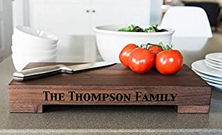 Personalized Wedding Gifts Cutting Board - Wood Cutting Boards, Also Bridal Shower and Housewarming Gifts (10 x 18 Walnut Butcher Block, Thompson Design)