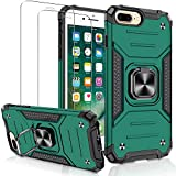 Compatible with iPhone 6 Plus Case, iPhone 7 Plus Case, iPhone 8 Plus Case with [2 Pack] Glass Screen Protector, Jshru [Military-Grade] Armor Phone Case with Ring Kickstand for iPhone 6S Plus, Green