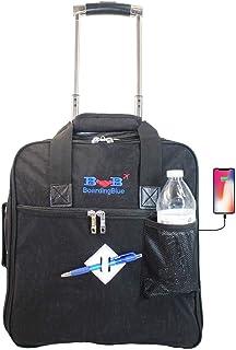 "Personal item 16"" Rolling Under Seat Duffel Bag for Allegiant Airs w USB Port (Black)"