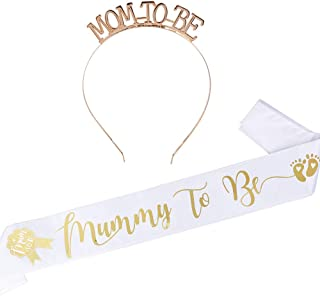 'Mummy To Be' skärp satin baby dusch skärp och 'Mum To Be Glitter Crown Tiara pannband