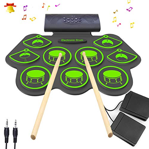 Electronic Drum Set – KONIX Bluetooth Electric Midi Drum Set for Beginner Portable Roll Up Drum Practice Pads – Musical Instruments With Built-In Speaker,Drum Pedals Drum Sticks