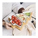 Mzxun. Ceramica di legno di bambù Albero di Natale di ripartizione Piatto Spuntino Platter snack di frutta ciotola Piastra colazione piatto di dessert Piastra