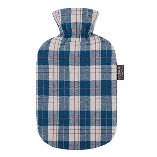 fashy Wärmflasche mit Baumwollbezug im Karodesign, aqua