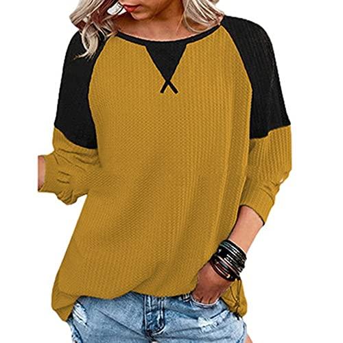 OtoñO E Invierno Nueva Costura De Contraste De Color De Las SeñOras De Cuello Redondo Camiseta De Manga Larga RagláN