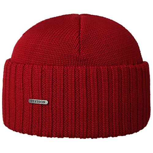Stetson Northport Wintermütze aus Merinowolle - Mütze Made in Italy - Seemannsmütze für Damen/Herren - Wollmütze Herbst/Winter - Merinomütze rot One Size