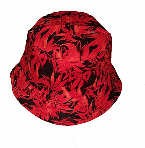 Chapeau de soleil tendance à motif feuilles de chanvre - rouge