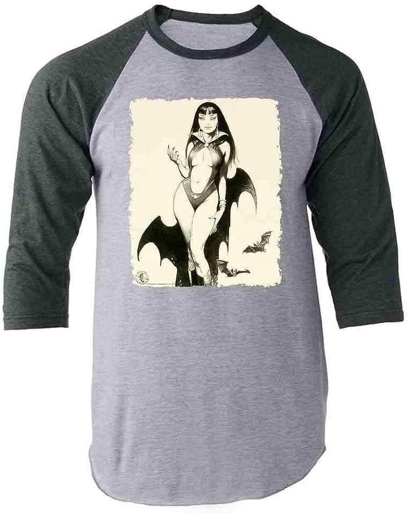 Vampire Mistress Sketch by Frank Frazetta Art Gray 3XL Raglan Baseball Tee Shirt