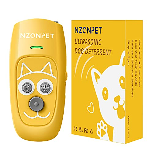 Anti Barking Device, Nzonpet Ultrasonic 3 in 1 Dog Barking Deterrent Devices, 3 Frequency Dog Training and Bark Control Device 16.4Ft Range Bright Yellow Rechargeable with LED Light and Cartoon Prints