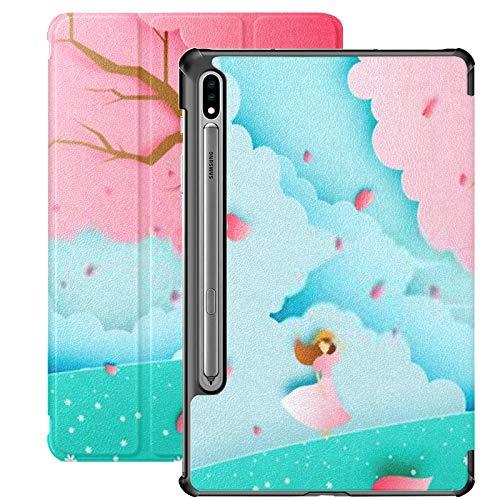 Funda para Galaxy Tab S7 Funda Delgada y Liviana con Soporte para Tableta Samsung Galaxy Tab S7 de 11 Pulgadas Sm-t870 Sm-t875 Sm-t878 2020 Release, Beautiful Girl Cherry Blossom Tree Grass
