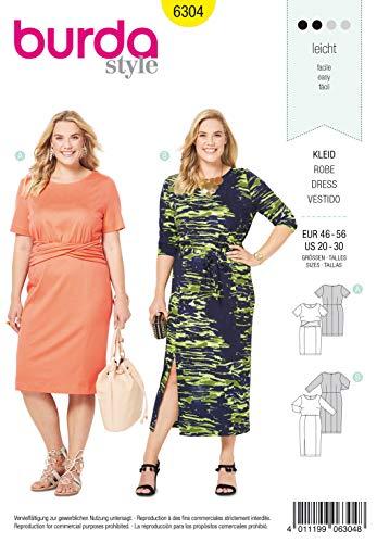 Burda Schnittmuster 6304, Kleid [Damen, Gr. 46-60] zum selber nähen, ideal für Anfänger [L2]