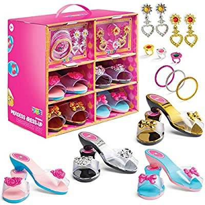 Play22 Princess Girls Dress Up Shoes And Jewelry Boutique 18 Set – 4 Pairs Pretend Play Shoes For Little Girls, 2 Earrings, 3 Bracelets, 3 Rings - Glamorous Princess Dress Up Accessory Set - Original