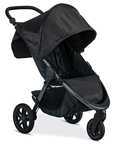 Britax B-Free Stroller | All Terrain Tires + Adjustable Handlebar + Extra Storage with Front Access + One Hand, Easy Fold, Midnight