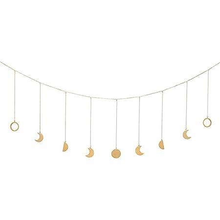 BIKHYY Mondphase Girlande mit Ketten Wanddeko Wandbehang Urlaub Ornamente f/ür Zimmer Dekor B/üro 7pcs Mond 120cm Kette Gold
