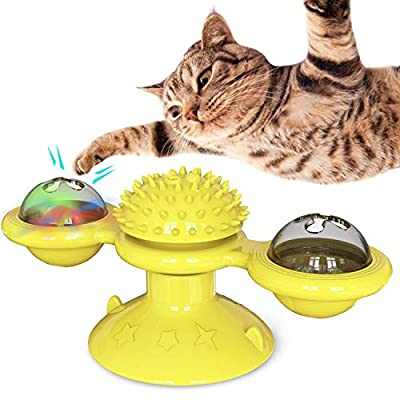 YAMI Windmill Cat Toy, Teasing Pet Toy Interactive Cat Toys with Led Ball and Catnip Ball, Scratching Tickle Grooming Cats Hair Brush (Yellow)