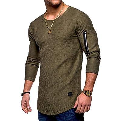 Rela Bota Mens Sweatshirts Fashion Athletic Solid Color Slim Fit Sport Lightweight Long Sleeve Pullover Green M