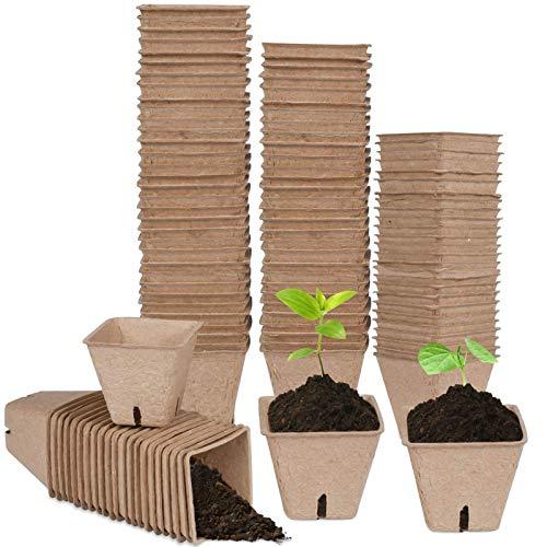 MEYENG 50PCS Bandejas De Semillero, Macetas De Semillas Biodegradables, Herramientas De Transplantación para Plantas, para Brotado Cultivo De Invernadero Huerto