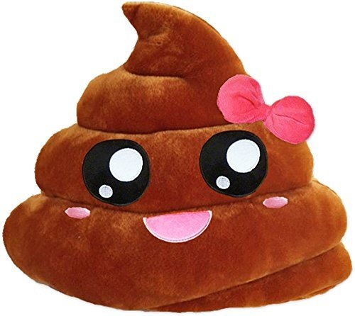 "PLUSH & PLUSH TM 12"" Inch / 30cm Large Emoji Pillows Smiley Emoticon Soft Plush Stuffed Yellow Roundy Full Collection (USA SELLER) (PINK RIBBON POOP )"