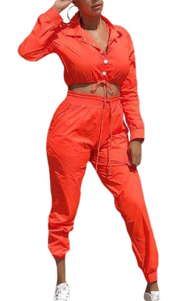 ドラフト争う予算Women Casual 2 Piece Outfits Long Sleeve Windbreaker Tracksuit Pants Sets