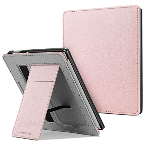 CaseBot Stand Case for All-new Kindle Oasis (10th Generation, 2019 Release and 9th Generation, 2017 Release) - Premium PU Leather Sleeve Cover with Card Slot and Hand Strap, Rose Gold