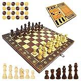 Keyohome Tablero de ajedrez 3 en 1 de madera, magnético, portátil y plegable, juego para adultos y niños, tarjeta de juego portátil para viajes (29 x 29 x 4,8 cm)