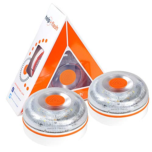 HELP FLASH 2X V2 2021 - luz de Emergencia AUTÓNOMA, señal preseñalización de Peligro y Linterna, homologada, normativa DGT, V16, con Base imantada, activación AUTOMÁTICA o Manual, Hecho en España