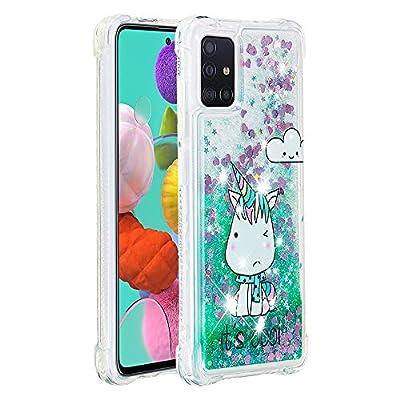 Keteen Funda para Galaxy A51 con purpurina, funda para Samsung A51, transparente, carcasa de silicona TPU, antigolpes, antideslizante, para Samsung Galaxy A51, diseño de unicornio