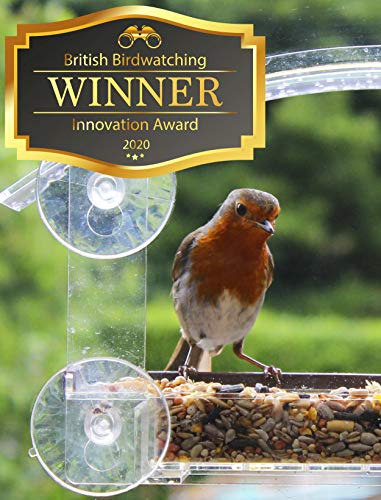 Window Bird Feeder with Suction Cups - HOME BIRD Window Feeder with Removable Seed Tray For Bird Watching Bird House Small Birds Squirrel Proof Garden Feeders