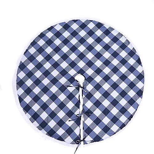 Buffalo Plaid Tree Skirt,36 inch Blue and White Christmas Tree Skirts with Luxury Faux Fur Edge for Merry…