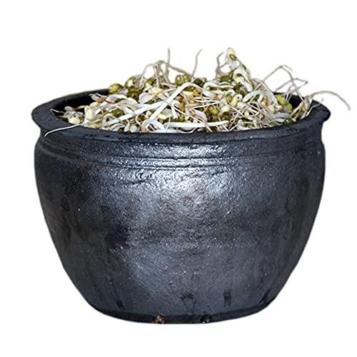 1.8 L Olla Barro Horno LeñaNegro Cazuela Y Horno Ø 19cmCasserole Pot para Estofar Ternera, Gambas, Pollo, Sopa, Estofado Cremoso De Cordero Y Avena