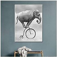 ウォールアートファブリックポスタープリント象に乗って自転車の動物のアートワーク子供のためのウォールアートリビングルームの家の装飾(60x80cm)1pcsフレームなし