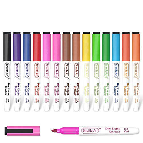 Dry Erase Markers, Shuttle Art 15 Colors Magnetic Whiteboard Markers with Erase,Fine Point Dry Erase Markers Perfect For Writing on Whiteboards, Dry-Erase Boards,Mirrors for School Office Home