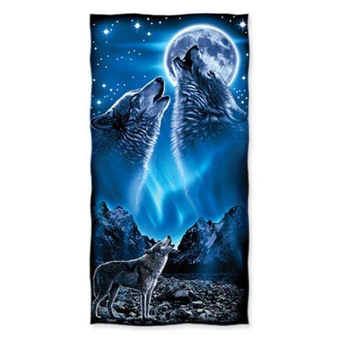 YISUMEI - Toalla de ducha/playa - Lobos aullando luna - 70 cm x 140 cm