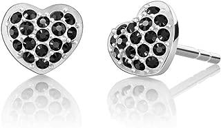Sterling Silver Swarovski Petite Heart Stud Earrings - Jet Hematite