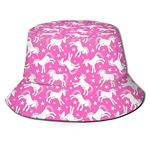 EASSEN Púrpura Gold Crown Unisex Bucket Hat Verano Viaje Pescador Sombreros al aire libre Protección solar Pesca Cap, Unicornio Rosa, Talla única