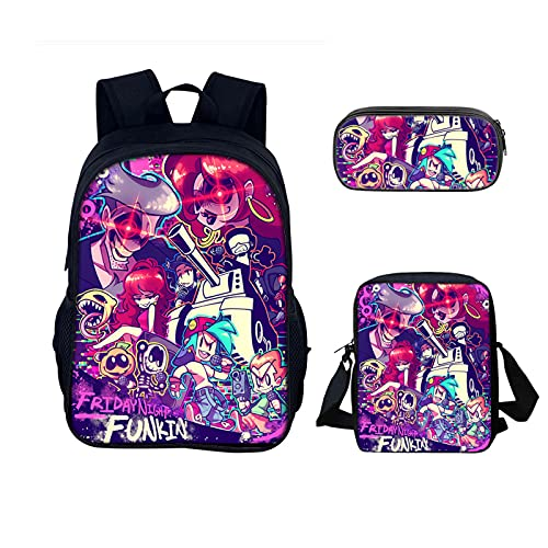 Friday Night Funkin niños Mochila 3 unids/Set 3D Imprimir Mochilas Escolares Juego Mochila Anime Adolescente portátil Fnf Bolsa de Libros