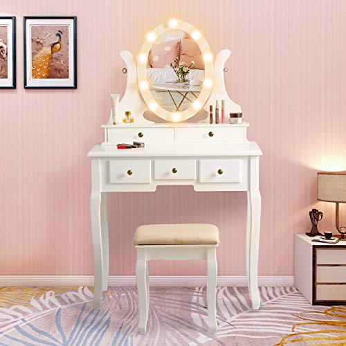 Vanity Table Set with Lighted Mirror, Makeup Dressing Table and Cushioned Stool Set with 5 Large Drawers for Women Girls (White)