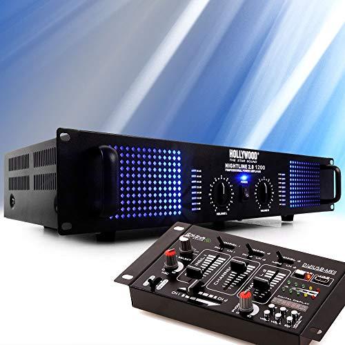 etc-shop PA DJ 2400 Watt Endstufe Verstärker USB MP3 Mixer Mischpult Kabel DJ-541