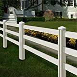 WamBam Traditional 4 by 7-Feet Premium Vinyl Ranch Rail Fence Sections with 2 Posts/Caps