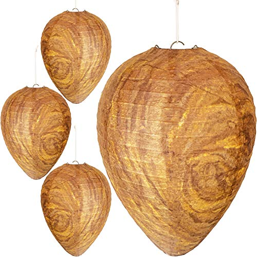 Wasp Nest Decoy - 4 Pack - Hanging Fake Wasp Nest