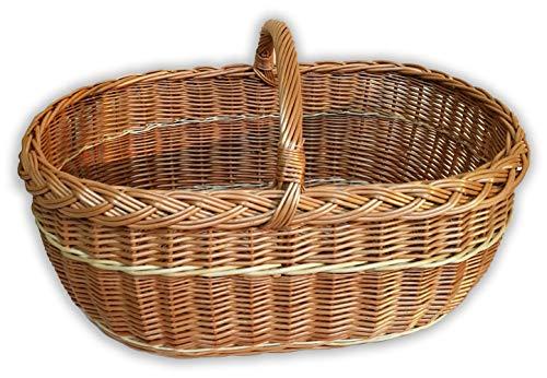 Alpenfell Einkaufskorb XXL 63cm aus Weide, Deutschlands größter Weidenkorb Bügelkorb Picknickkorb, XXL mit Griff, Handarbeit, sehr stabil - 63 x 43 x 40cm