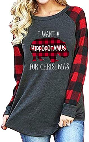I Want A Hippopotamus for Christmas Plaid Shirt Women's Plaid Hippo Graphic Spling Long Sleeve Tshirt Xmas Holiday Tops (XX-Large, Grey)
