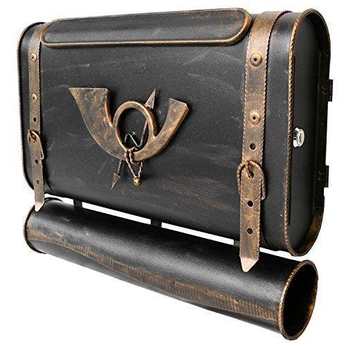 Briefkasten POSTHORN I Antik Look Kupfer Bronze Silber Tasche Ranzen Postkasten alte Ledertasche Schulranzen: Design: SG-R Schwarz-Gold Rechts