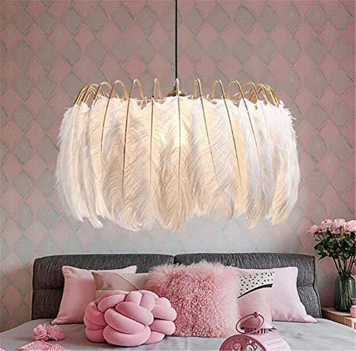 Sazuitou 60cm dimbare luxe struisvogelveren, plafondlamp, creatieve slaapkamer, decoratieve lampen, kroonluchter, kinderkamer, kledingwinkel, verenlamp E27 A+++