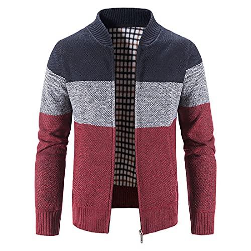 Cárdigan de Punto para Hombre Chaqueta Outwear Tops Manga Larga Cálido Suéter de Punto Cremallera Slim Fit Abrigo Ropa para Otoño E Invierno (Vino Tinto, XL)