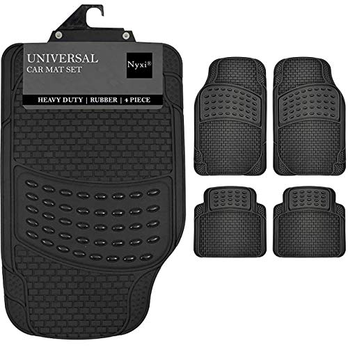 Nyxi 4 Piece Rubber Car Mat Universal Non-Slip Deep Dish Heavy Duty for Cars SUV Truck and VAN, Water Proof, All Weather (4 Piece Floor Mat Only)