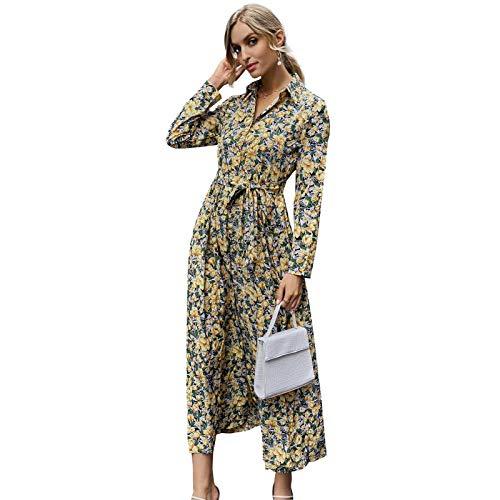 Las mujeres imprimen la camisa de manga larga de gasa de encaje de cintura alta delgada retro vestido de mujer...