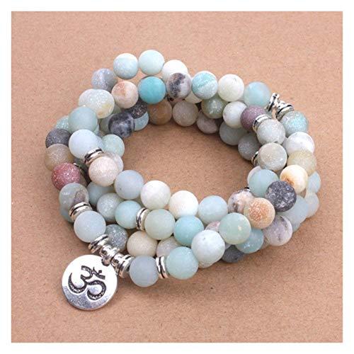WanXingY Blanco Piedras de Lava Pulsera de Las Mujeres Matte Frosted Amazonita Beads con Lotus OM Buddha Charm Yoga Bracelet 108 Mala Collar Accesorios (Metal Color : OM)